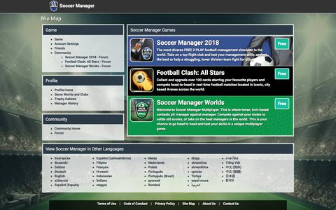 Screenshot of Site Map Page soccermanager.com - Soccer Manager Site Map - Free Soccer Manager game - Soccer Manager - captured Sept. 21, 2018