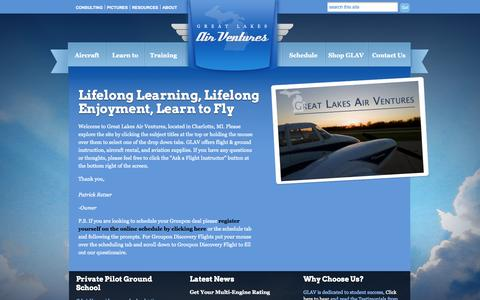Screenshot of Home Page greatlakesairventures.com - Great Lakes Air Ventures   - captured Sept. 30, 2014