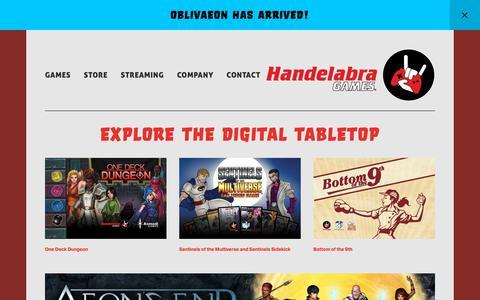 Screenshot of Home Page handelabra.com - Handelabra Games - captured March 21, 2019