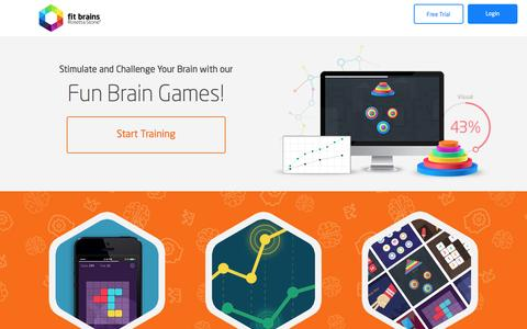 Screenshot of Home Page fitbrains.com - Brain Games, Brain Training & Brain Exercises - Fit Brains - captured Sept. 10, 2016