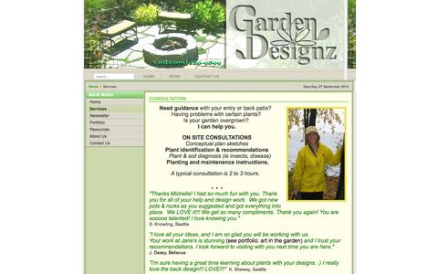 Screenshot of Services Page garden-designz.com - garden-designz.com - Services - captured Sept. 29, 2014