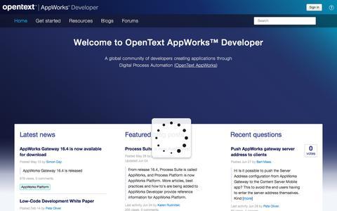 Screenshot of Developers Page opentext.com - OpenText Web Access - captured July 9, 2018