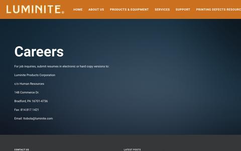 Screenshot of Jobs Page luminite.com - Careers – Luminite - captured Sept. 30, 2018