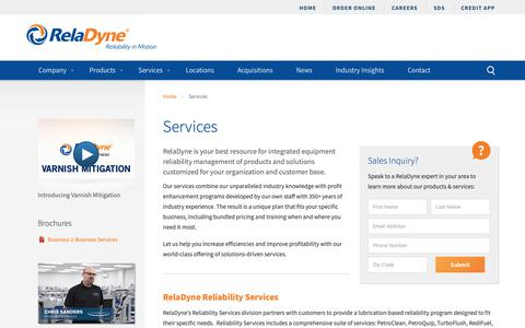 Screenshot of Services Page reladyne.com - Reliability Services & Custom Blending | Tank Monitoring | RelaDyne LLC - captured Sept. 29, 2018