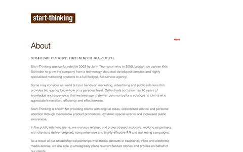 Screenshot of About Page start-thinking.com - About | Start-Thinking - captured Oct. 18, 2018