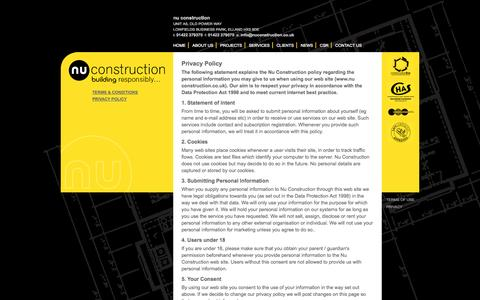 Screenshot of Privacy Page nuconstruction.co.uk - Website Privacy Policy | Nu Construction Ltd | Elland, West Yorkshire - captured Oct. 26, 2014