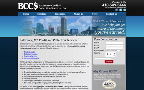 Screenshot of Services Page bccs2.com - Baltimore, MD Credit and Collection Services   BCCS - captured Oct. 5, 2014