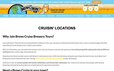 Screenshot of Locations Page brewscruise.com - US Brewery Tours Near Me | 541-419-4963 | Brews Cruise, Inc. - captured Oct. 6, 2018