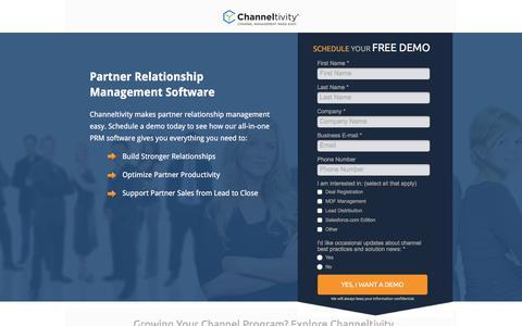Screenshot of Landing Page channeltivity.com - Channeltivity Partner Relationship Management Software - captured Sept. 19, 2018