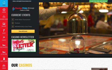 Screenshot of Home Page bestgoacasino.com - Casino Pride Goa - captured Sept. 25, 2018