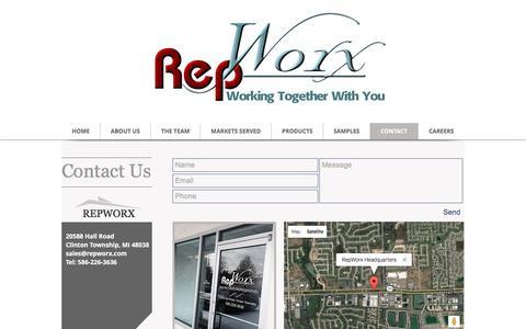 Screenshot of Contact Page repworx.com - RepWorx - Manufacturer Representatives - captured Dec. 19, 2016