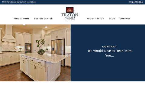 Screenshot of Contact Page tratonhomes.com - Contact - Traton Homes - captured April 25, 2018