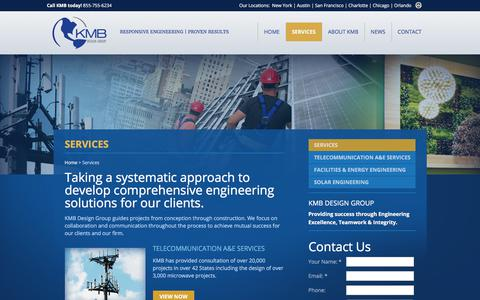 Screenshot of Services Page kmbdg.com - Check out the engineering services at KMB Design Group : KMB Design Group - captured Oct. 16, 2017