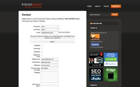 Screenshot of Services Page photographers-marketing.com - FOLIOMOJO|  Contact - captured Nov. 25, 2016