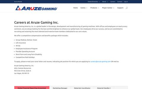 Screenshot of Jobs Page aruzegaming.com - Careers - Aruze Gaming Inc. - captured Oct. 8, 2017