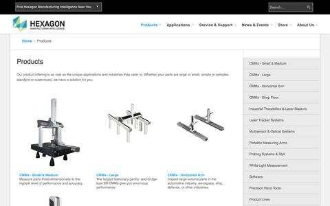 Screenshot of Products Page hexagonmetrology.us - Products - captured Dec. 5, 2015