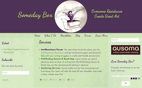Screenshot of Services Page somedaybox.com - Services - captured Nov. 25, 2018
