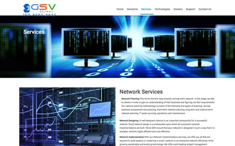 Screenshot of Services Page gsvsystems.com - Networking and Electrical Solutions,Designing Cisco Networking,Gurgaon India - captured July 12, 2017
