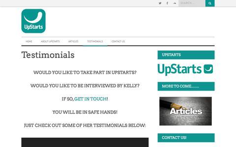 Screenshot of Testimonials Page upstarts.ie - Testimonials | Upstarts - captured Sept. 24, 2018