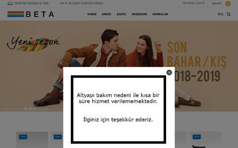 Screenshot of Home Page betashoes.com - BETA | Kadın ve Erkek Deri Ayakkabı, Çanta ve Aksesuar Modelleri - captured Nov. 29, 2018