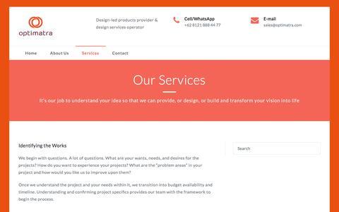 Screenshot of Services Page optimatra.com - Services – Optimatra – Design-led Products and Services - captured Sept. 20, 2018