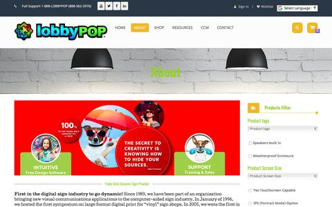 Screenshot of About Page lobbypop.com - About – LobbyPOP Digital Sign Systems - captured Feb. 12, 2018