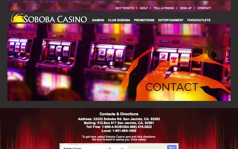 Screenshot of Contact Page soboba.net - Contact - captured Oct. 7, 2014