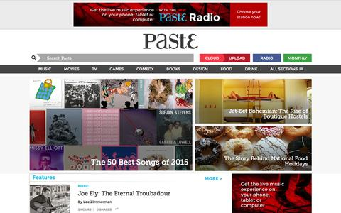 Screenshot of Home Page pastemagazine.com - Paste Magazine :: The Best Movies, TV, Songs, Albums, Games, Books, Comedy, Tech, Design and Beer :: Music and Movie News, Reviews, Videos and More - captured Dec. 2, 2015