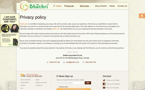 Screenshot of Privacy Page dhathri.com - Dhathri : Privacy policy - captured Oct. 5, 2014