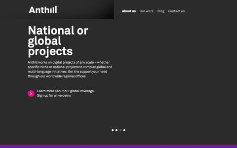 Screenshot of Home Page anthillagency.com - Anthill - individual digital communication for the life science industry - captured Sept. 30, 2014