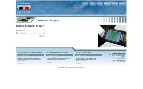 Screenshot of Support Page luggagelogistics.net - Luggage Logistics - captured Oct. 3, 2014