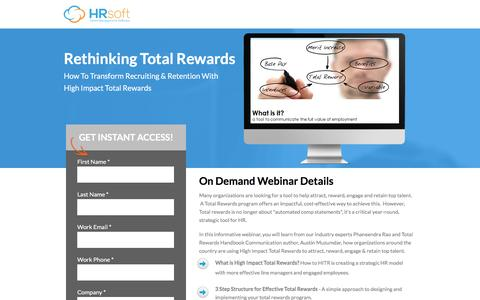 Screenshot of Landing Page hrsoft.com - Rethinking Total Rewards - captured Sept. 6, 2016