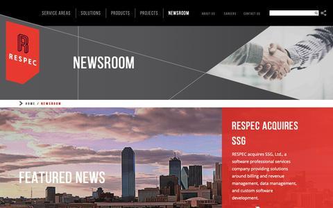 Screenshot of Press Page respec.com - Newsroom - RESPEC - captured Oct. 21, 2018