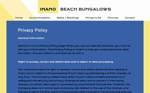 Screenshot of Privacy Page inanobeach.com - Contacts - captured Nov. 26, 2016