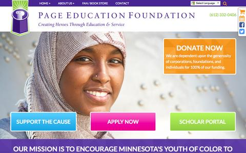 Screenshot of Home Page page-ed.org - College Scholarships | Grants | Page Education Foundation - captured June 18, 2015