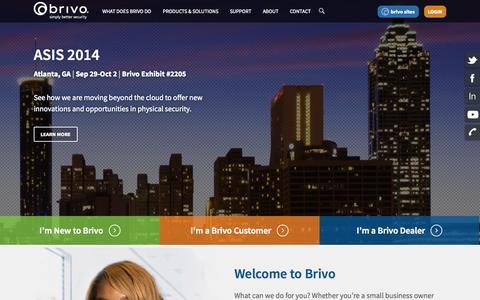 Screenshot of Home Page brivo.com - Brivo - captured Sept. 24, 2014