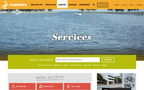 Screenshot of Services Page stpete.org - The City of St. Petersburg   Services - captured Jan. 14, 2016