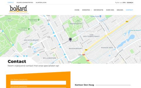 Screenshot of Contact Page bollard.nl - Contact - Bollard Accountants √ Belastingadviseurs - captured Oct. 6, 2018