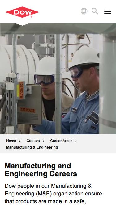 Screenshot of Jobs Page  dow.com - Manufacturing & Engineering Careers   Dow
