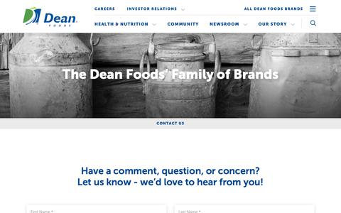 Screenshot of Contact Page deanfoods.com - The Dean Foods' Family of Brands | Dean Foods - captured March 13, 2019