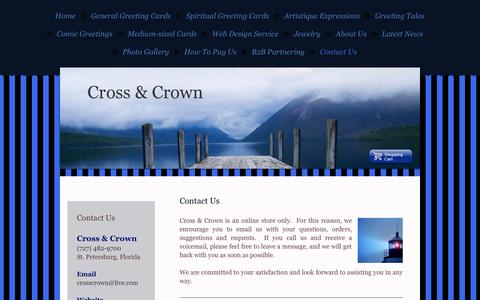 Screenshot of Contact Page crosscrown.net - Contact Us - Cross & Crown, an inspirational greeting card company - captured Sept. 30, 2014