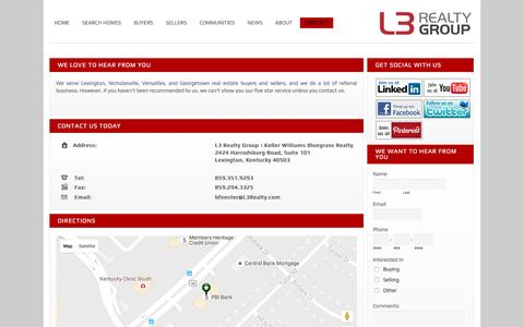 Screenshot of Contact Page l3realty.com - Contact Information for L3 Realty - captured Oct. 3, 2016