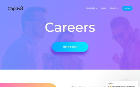 Screenshot of Jobs Page captiv8.io - Captiv8 says… - captured July 8, 2018