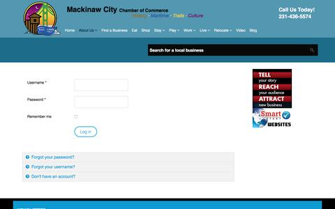 Screenshot of Login Page mackinawchamber.com - Mackinaw City Chamber of Commerce - Member Login - captured Sept. 27, 2017