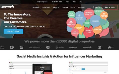 Screenshot of Home Page zoomph.com - Zoomph | Influencer Engagement Platform | Social Media Marketing - captured Feb. 17, 2016