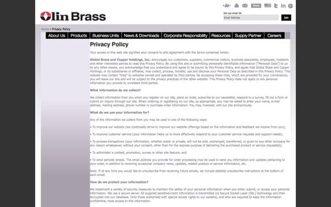 Screenshot of Privacy Page olinbrass.com - Copper Alloys - Coil, Sheet, Strip | Privacy Policy | Olin Brass - captured Oct. 26, 2014