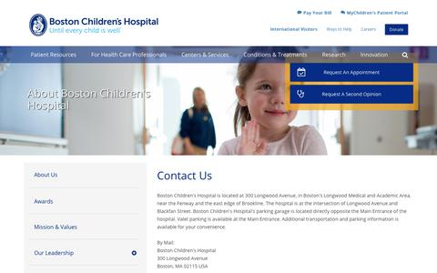 Contact Us | Boston Children's Hospital
