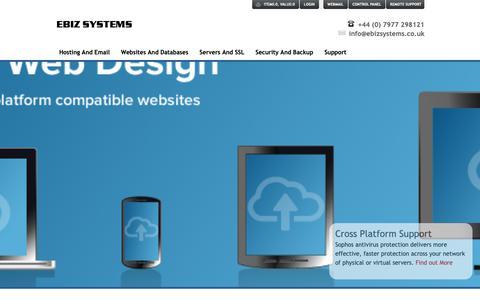 Screenshot of Home Page ebizsystems.co.uk - EBIZ Systems - Ecommerce, Hosting & Database Solutions - captured Nov. 4, 2018