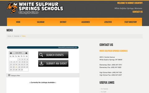 Screenshot of Menu Page whitesulphur.k12.mt.us - Menu - White Sulphur Springs SchoolsWhite Sulphur Springs Schools - captured June 21, 2016