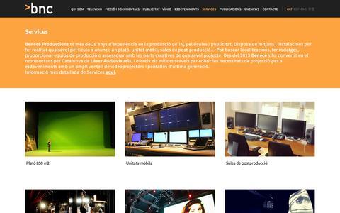 Screenshot of Services Page benece.es - Benecé Produccions |   Services - captured Jan. 21, 2016